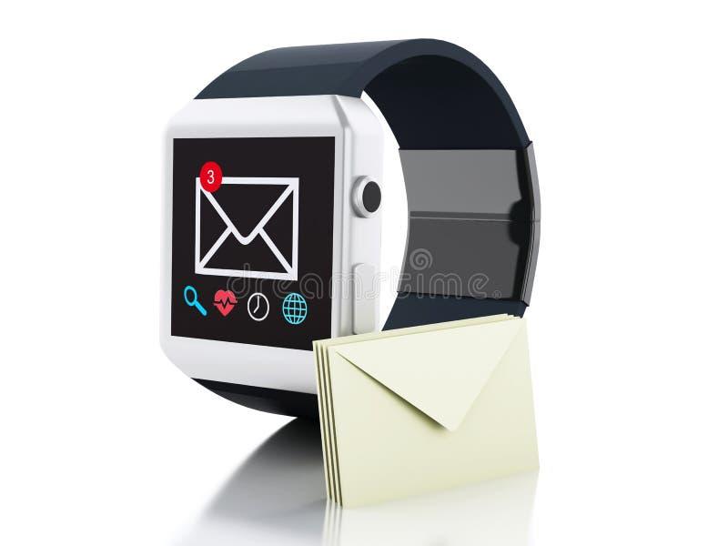 intelligente Uhr 3d mit ungelesener Mitteilungsikone Getrennt auf Weiß lizenzfreie abbildung