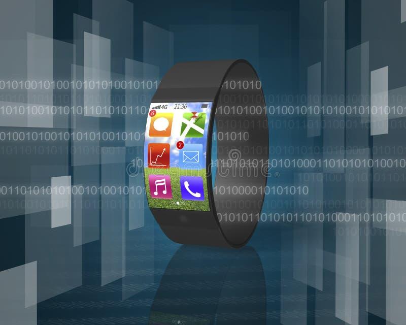 Intelligente Uhr des ultradünnen Bogensiebs auf Technologie-digitalem Hintergrund vektor abbildung