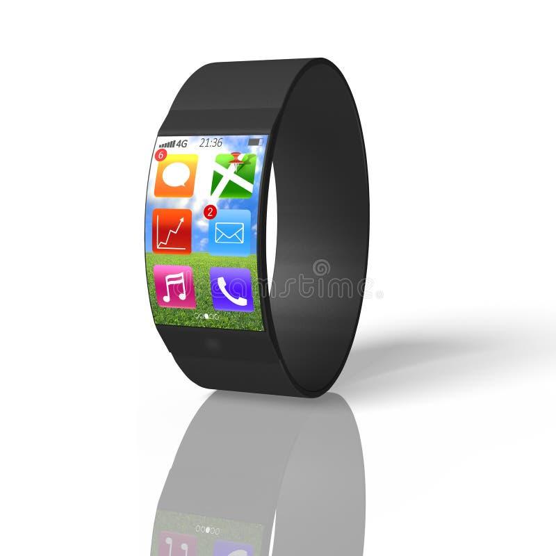 Intelligente Uhr des ultradünnen Bogensiebs lokalisiert auf Weiß lizenzfreie abbildung
