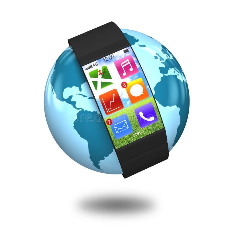Intelligente Uhr des ultradünnen Bogensiebs mit apps auf Kugel lizenzfreie abbildung