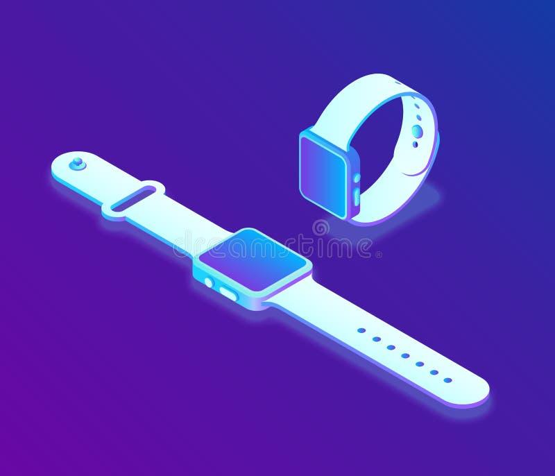 Intelligente Uhr isometrisches Smart Watch 3D Geschaffen für Mobile, Netz, Dekor, Druck-Produkte, Anwendung Vervollkommnen Sie fü stock abbildung