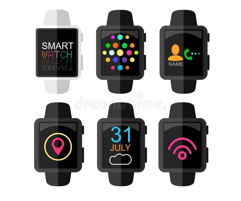 Intelligente Uhr mit Schnittstelle und APP-Ikonen eingestellt Spritze des Konzeptes design Auch im corel abgehobenen Betrag Flach vektor abbildung