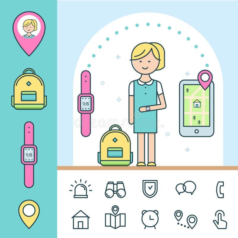 Intelligente Uhr und Verfolger für Kinder Infographics Elemente stock abbildung