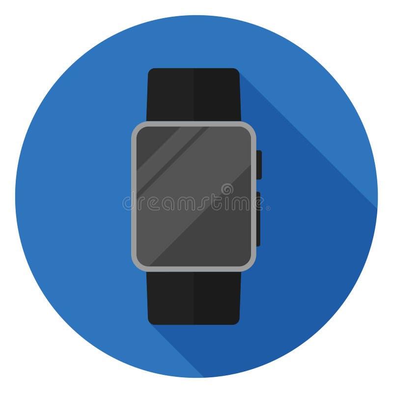 Intelligente Uhrikone im flachen Design stockbild