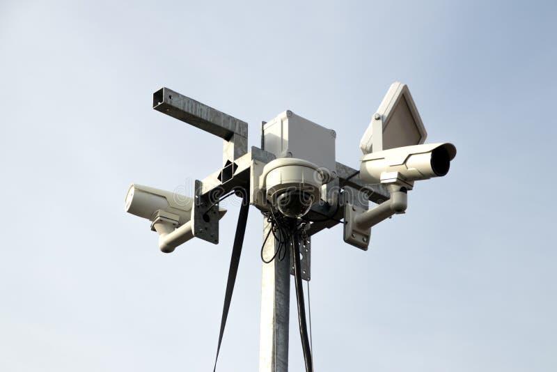 Intelligente veiligheidscamera, die op het terrein van het Mijnbouwmuseum letten in Heerlen stock afbeeldingen