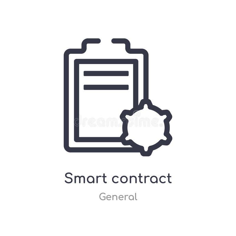 Intelligente Vertragsentwurfsikone lokalisierte Linie Vektorillustration von der allgemeinen Sammlung intelligente Vertragsikone  lizenzfreie abbildung