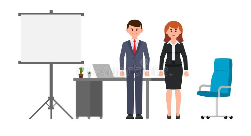 Intelligenter Geschäftsmann und Frau, die nahen Schreibtisch, Flip-Chart und Stuhl steht Vektorillustration von Zeichentrickfilm- stock abbildung