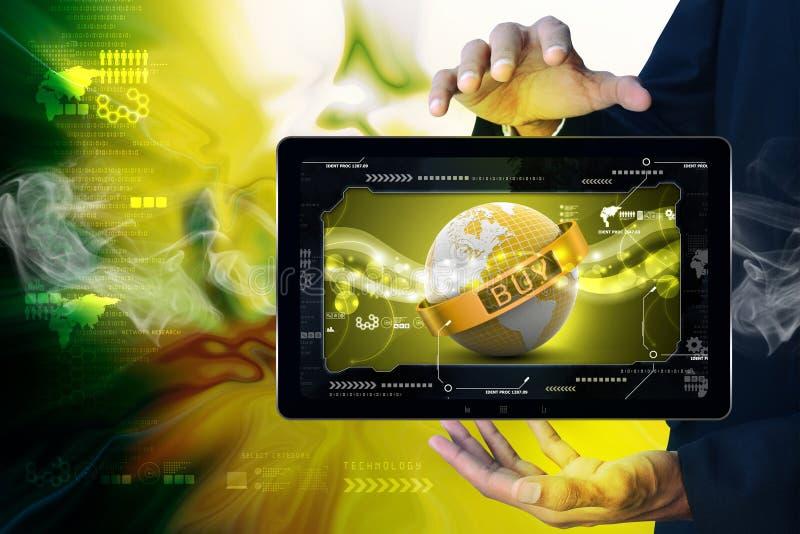 Intelligenter Handerdkugelabschluß in der Kette mit Rahmen lizenzfreie stockfotos