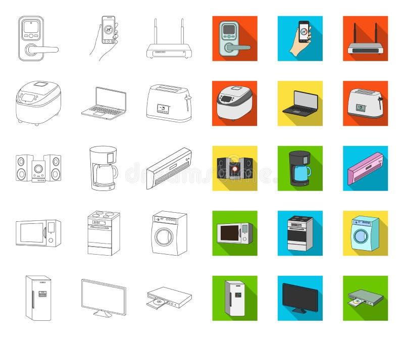 Intelligenter Haushaltsgerätentwurf, flache Ikonen in gesetzter Sammlung für Entwurf Moderner Haushaltsger?t-Vektorsymbolvorrat vektor abbildung