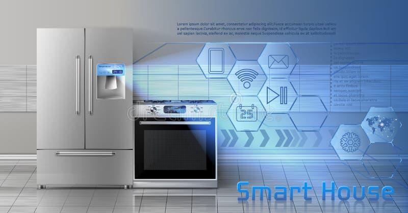 Intelligenter Hausvektor-Konzepthintergrund lizenzfreie abbildung