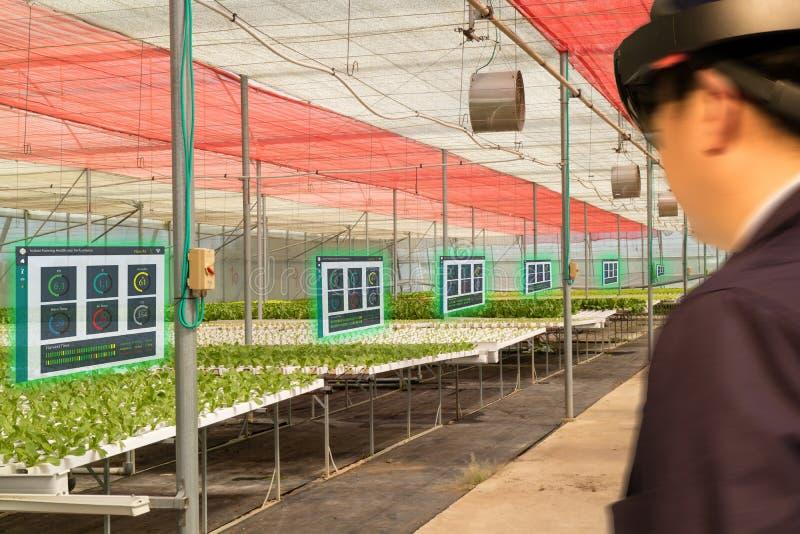 Intelligenter Industrieroboter 4 Iot 0 Landwirtschaftskonzept, der Agronom, farmerblurred unter Verwendung der intelligenten Gläs stockbilder