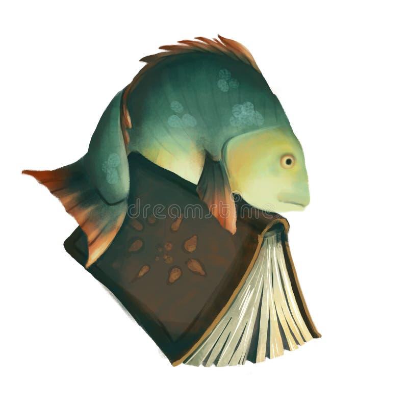 Intelligenter Karpfen Fischen Sie mit einem Buch, das auf weißem Hintergrund lokalisiert wird Karpfenschüler des blauen Grüns kur lizenzfreie abbildung
