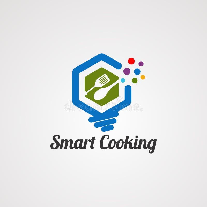 Intelligenter kochender Logovektor, -ikone, -element und -schablone für Firma vektor abbildung