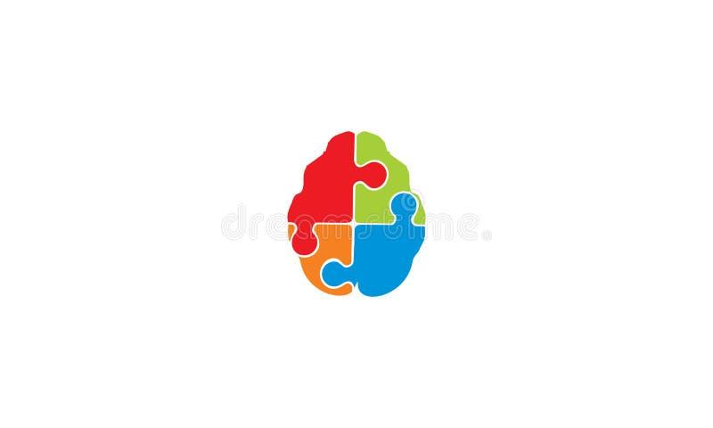 Intelligenter Logovektor Gehirn puzzel Technologie stock abbildung