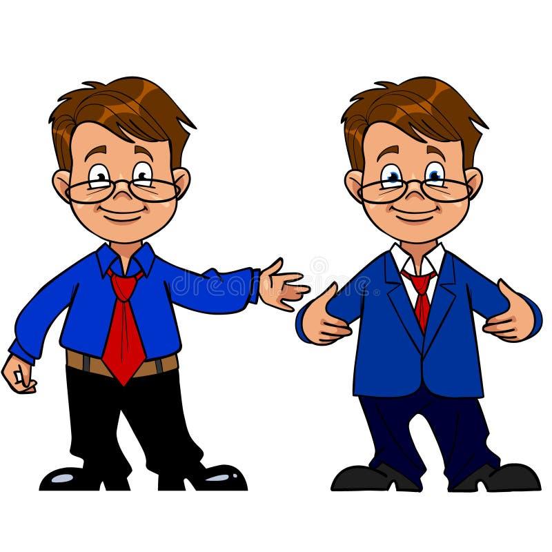 Intelligenter Mann mit Gläsern und einem Klagenlächeln stock abbildung
