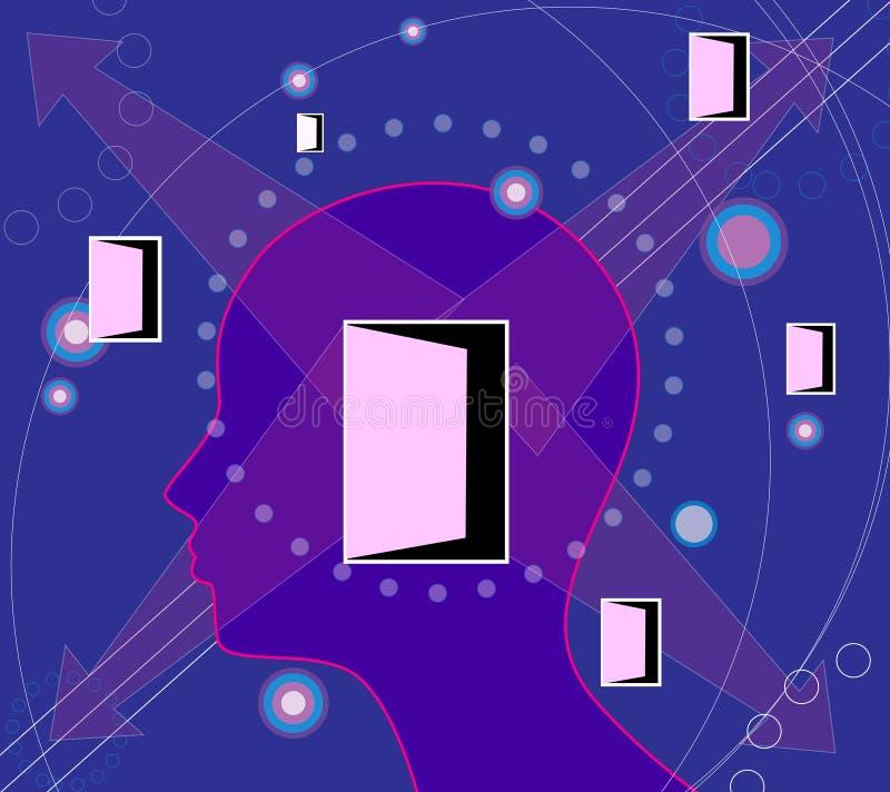 Intelligenter Mann und Türen stock abbildung