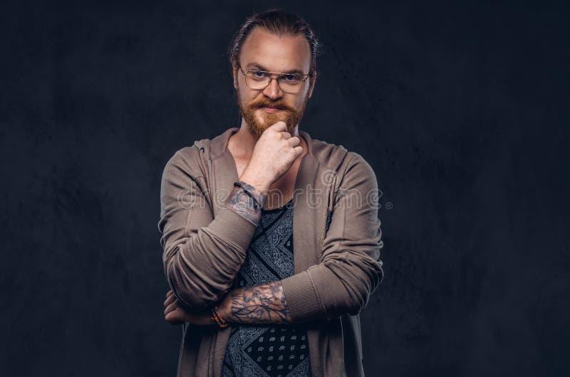 Intelligenter nachdenklicher Rothaarigehippie mit Vollbart und Gläser gekleidet in der zufälligen Kleidung, Haltungen mit der Han stockbilder