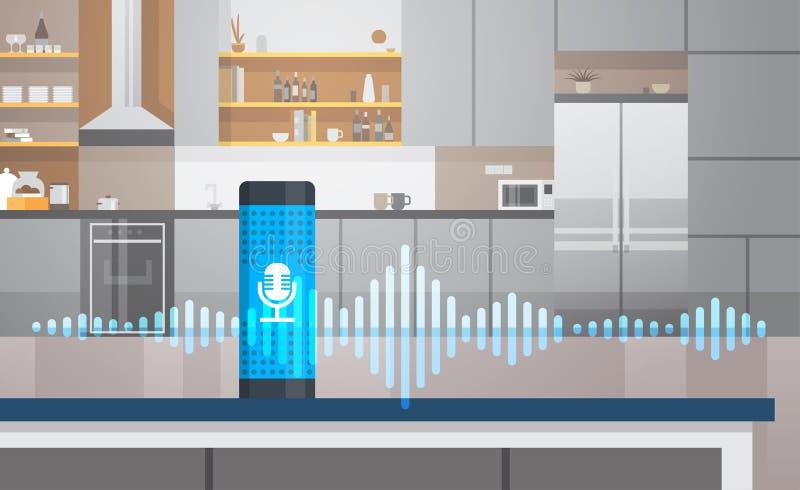 Intelligenter sprachaktivierter behilflicher Anerkennungstechnologiekonzeptkücheninnenhaupthintergrund intelligenter ai-Sprecher stock abbildung