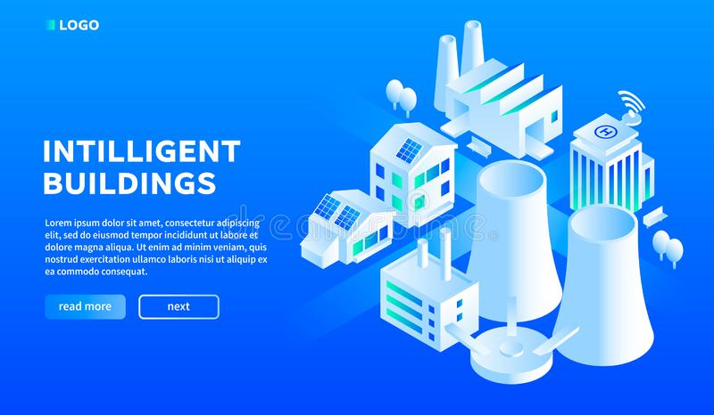 Intelligenter Stadtgebäude-Konzepthintergrund, isometrische Art vektor abbildung