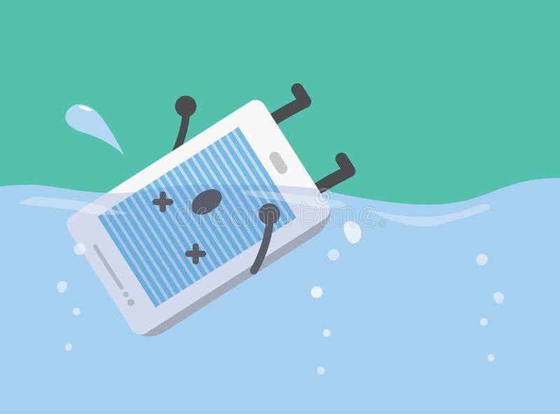 Intelligenter Telefontropfen in das Wasser lizenzfreie abbildung
