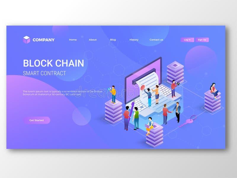 Intelligenter Vertrag Blockchain-Landungs-Seitenentwurf mit Illustration von den Leuten, die Laptop verwenden stock abbildung