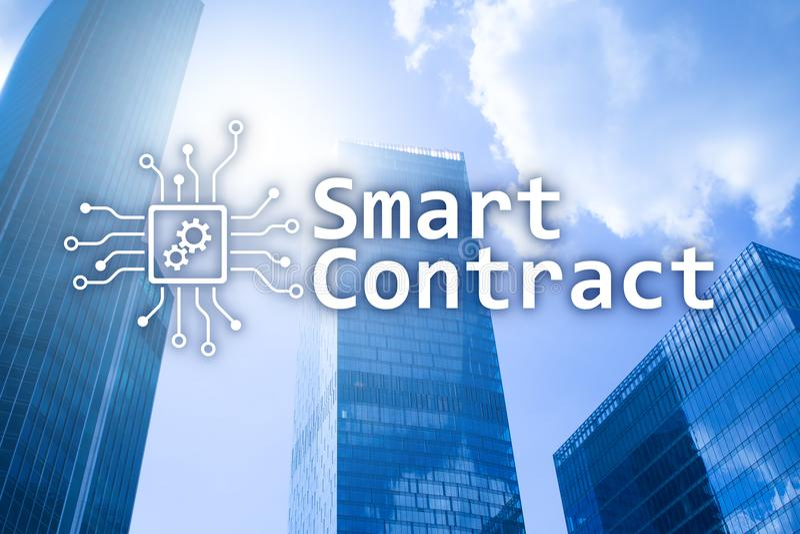 Intelligenter Vertrag, blockchain Technologie im Geschäft, finanzieren High-Teches Konzept Wolkenkratzerhintergrund lizenzfreie abbildung