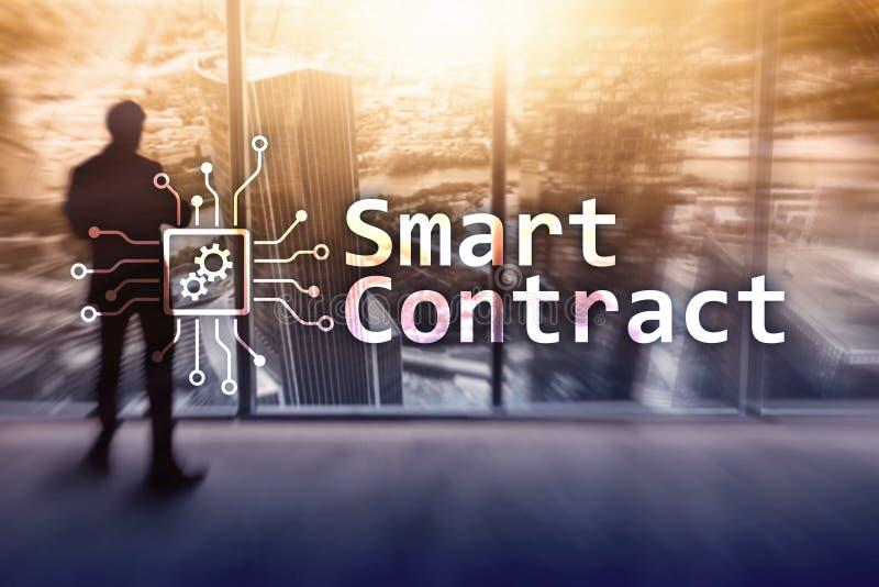 Intelligenter Vertrag, blockchain Technologie im Geschäft, finanzieren High-Teches Konzept Wolkenkratzerhintergrund vektor abbildung
