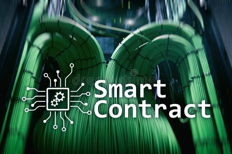 Intelligenter Vertrag, blockchain Technologie im modernen Geschäft lizenzfreie abbildung
