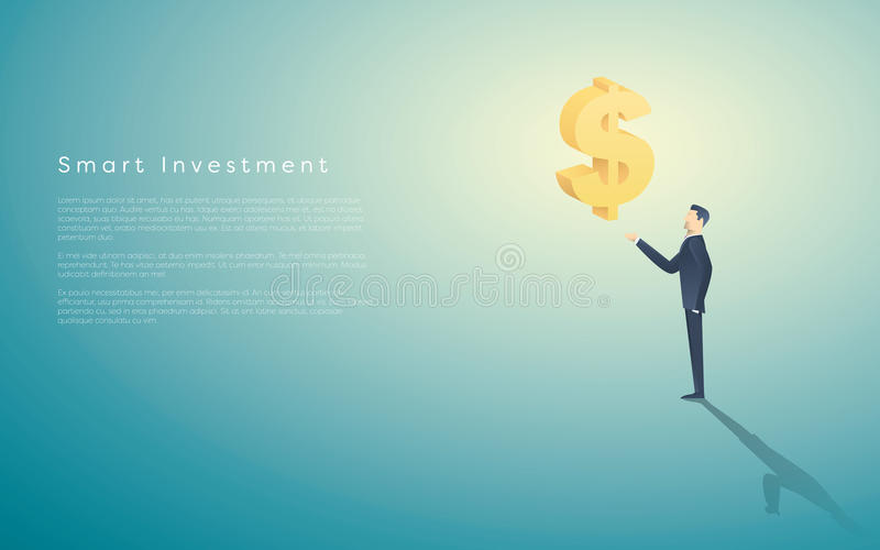 Intelligenter Wertpapiergeschäftkonzept-Vektorhintergrund mit Dollarzeichen als Symbol des Geldes und des Geschäftsmannes Bankban lizenzfreie abbildung