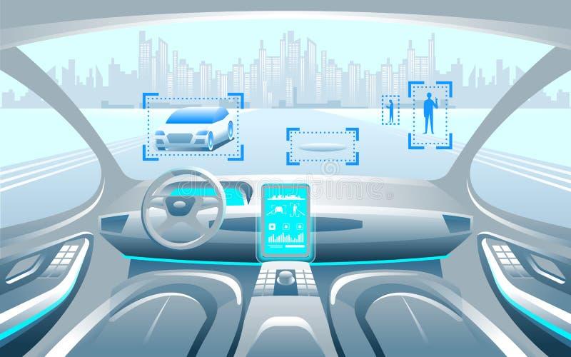 Intelligentes Auto Autinomous inerior Selbst, der an der Stadtlandschaft fährt Anzeigenshowinformationen über das Fahrzeug bewege stock abbildung