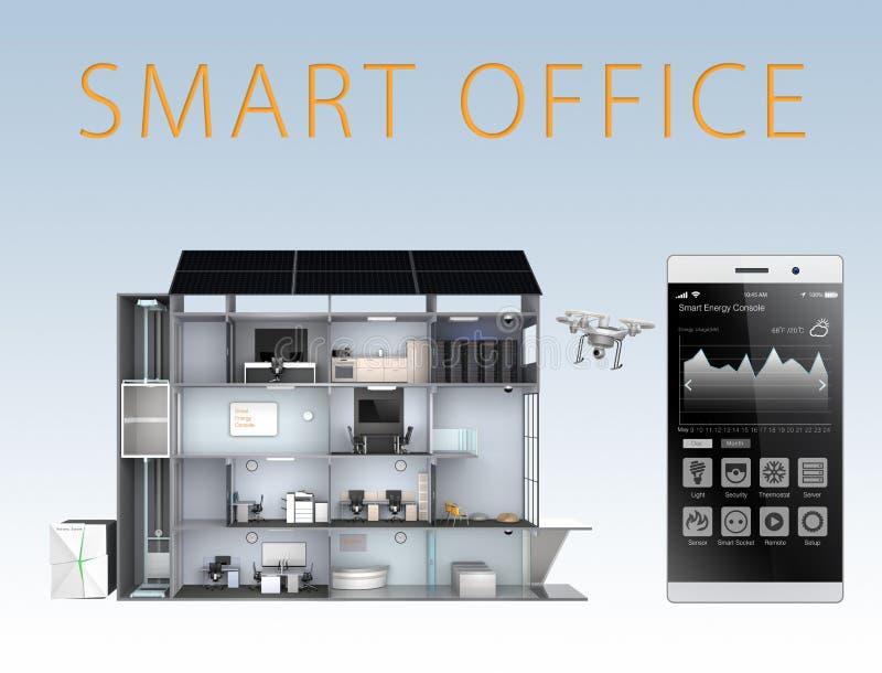 Intelligentes Büro und Smartphone lokalisiert auf blauem Hintergrund Die intelligente Büroenergieunterstützung durch Sonnenkollek stock abbildung