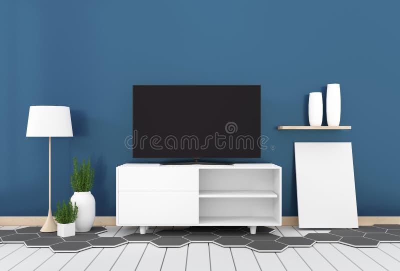 Intelligentes Fernsehen mit dem leeren schwarzen Schirm, der am Kabinettentwurf, am modernen Wohnzimmer mit dunkelblauer Wand auf lizenzfreie abbildung