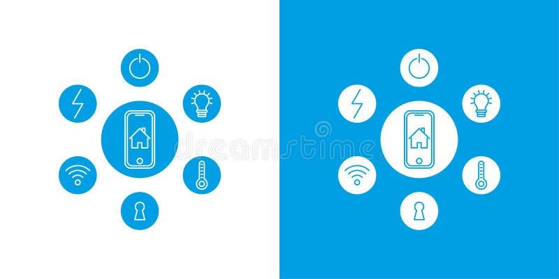 Intelligentes Hauptbedienkonzept Konzepthaus mit Technologiesystem Flache Designart-Vektorillustration stock abbildung