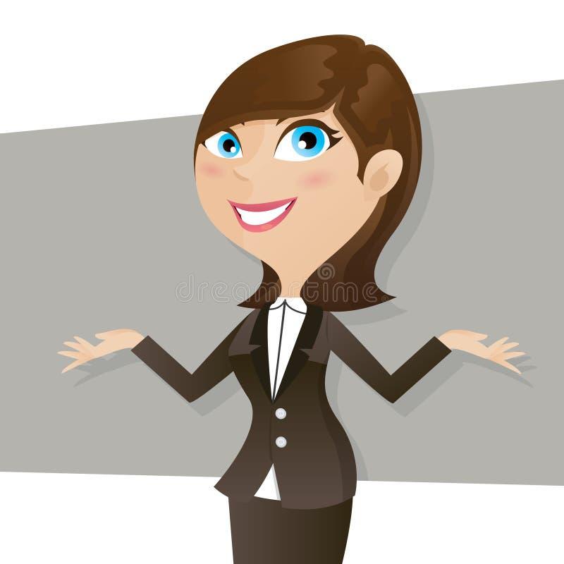 Intelligentes Mädchen der Karikatur im Geschäftsformular stock abbildung