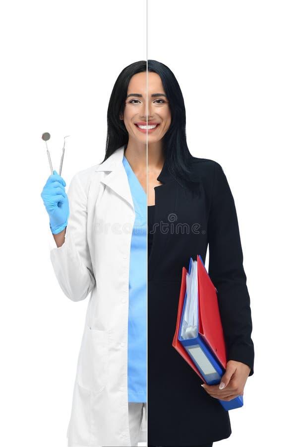 Intelligentes Mädchen in zwei Besetzungen des Zahnarztes und der Geschäftsfrau lizenzfreie stockbilder