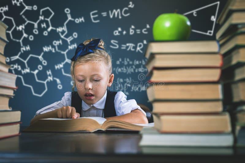 Intelligentes Schulmädchen, das ein Buch an der Bibliothek liest stockfotos