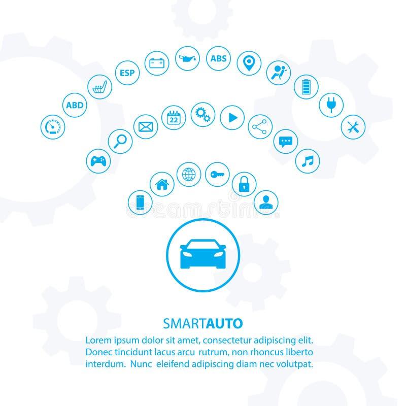 Intelligentes Selbstautokonzept mit Automobilikonen lizenzfreie abbildung