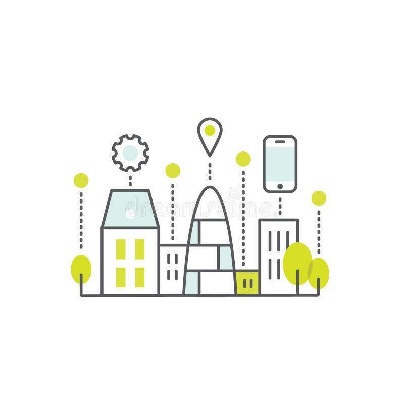 Intelligentes Stadt-Konzept und Technologie, ein Seiten-Netz oder bewegliche Schablonen-Zusammensetzung mit Wolke, Gebäuden, Gerä vektor abbildung