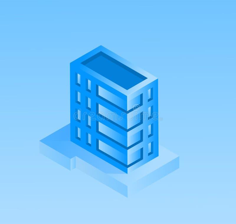 Intelligentes Stadtkonzept Vektorillustration mit Gebäuden Städtisches Stadtbild in der modernen isometrischen Art lizenzfreie abbildung