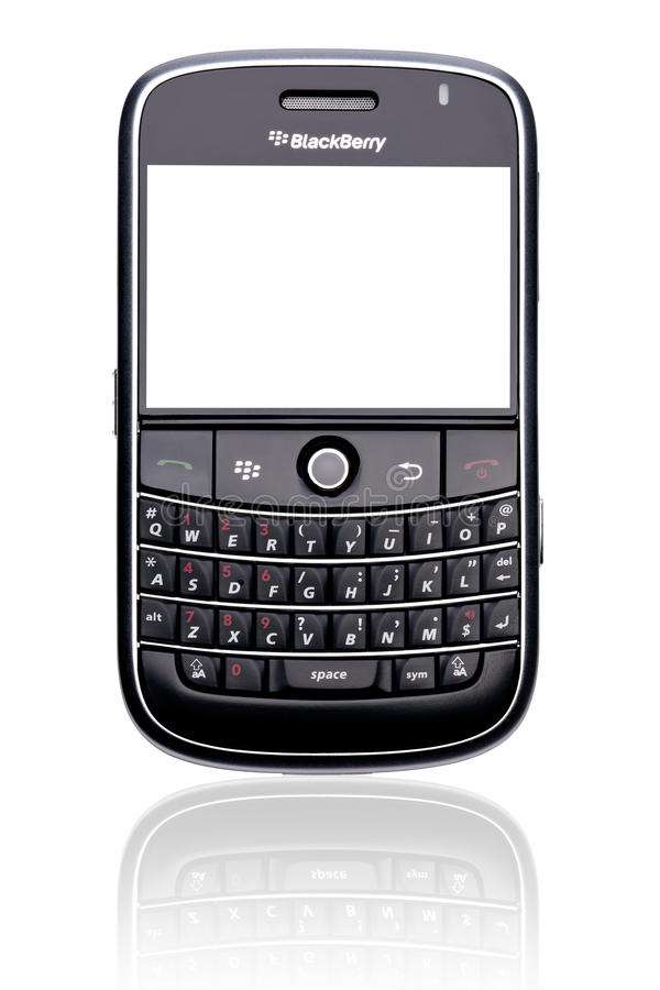 Intelligentes Telefon der Brombeere getrennt stockbilder