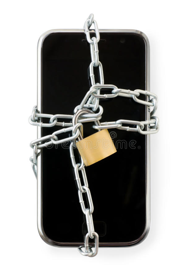 Intelligentes Telefon in der Kette mit Verschluss Lokalisiert auf Weiß mit Ausschnitt stockbild