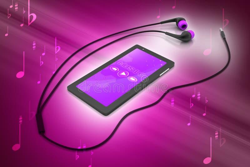 Intelligentes Telefon der Multimedia mit Kopfhörern stockbild