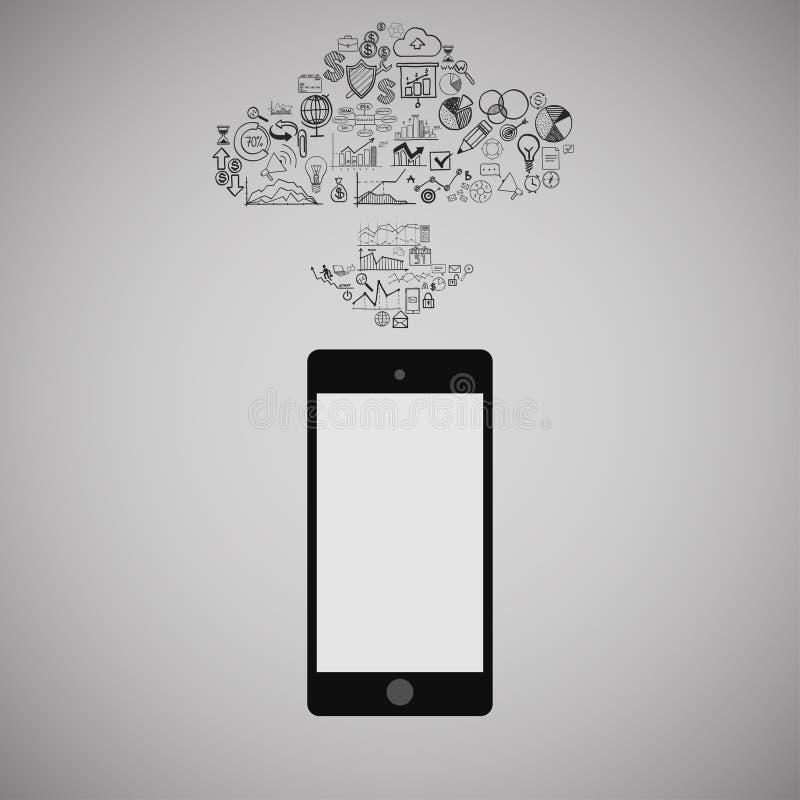 Intelligentes Telefon des Bildschirm- mit Wolke von Medien-Anwendungs-Ikonen Regenbogen und Wolke auf dem blauen Himmel vektor abbildung