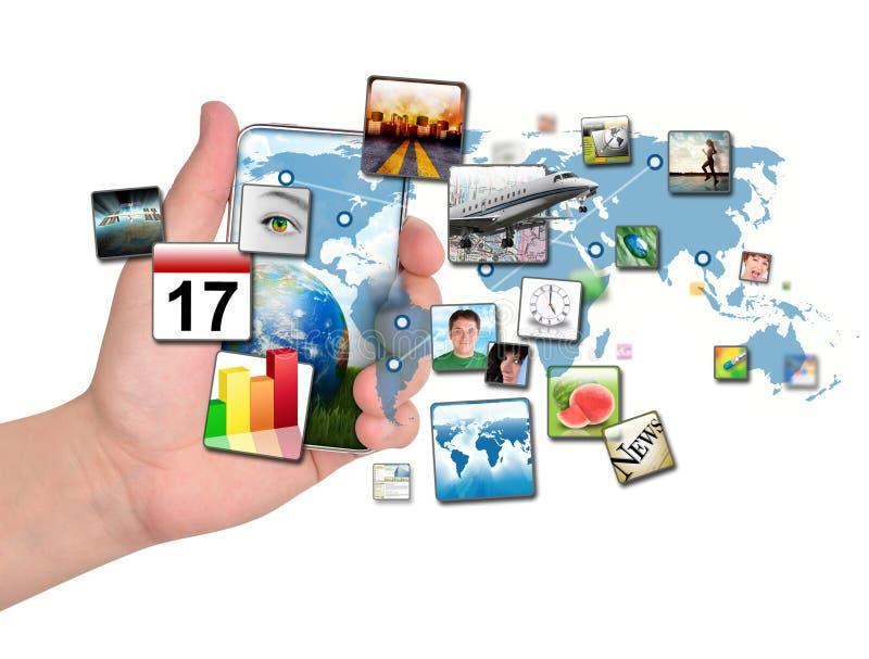 Intelligentes Telefon mit Anwendungen stockbild