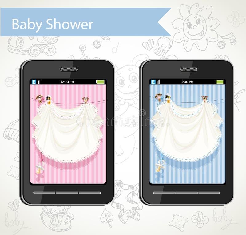 Intelligentes Telefon mit den Karten einer Babyparty zu wählen lizenzfreie abbildung