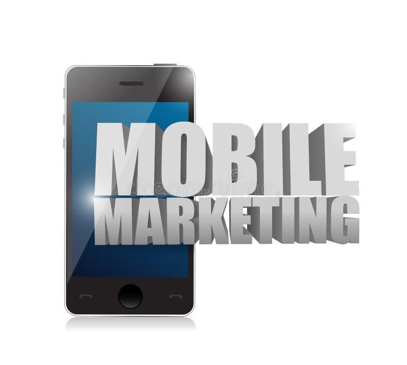 Intelligentes Telefon mit einem beweglichen Marketing-Zeichen lizenzfreie abbildung