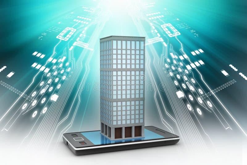 Intelligentes Telefon mit Immobilienkonzept stock abbildung