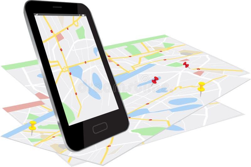 Intelligentes Telefon mit Navigationsanlage lizenzfreie abbildung