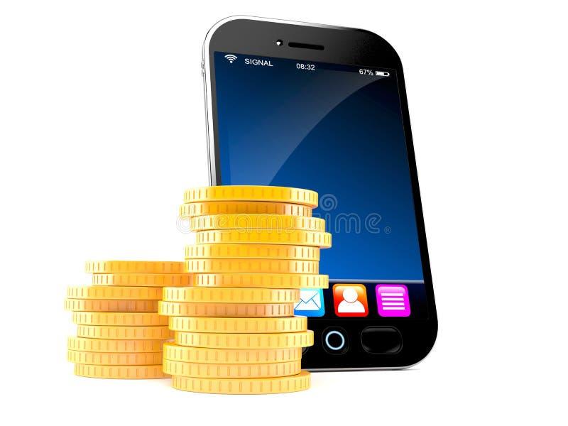 Intelligentes Telefon mit Stapel Münzen lizenzfreie abbildung