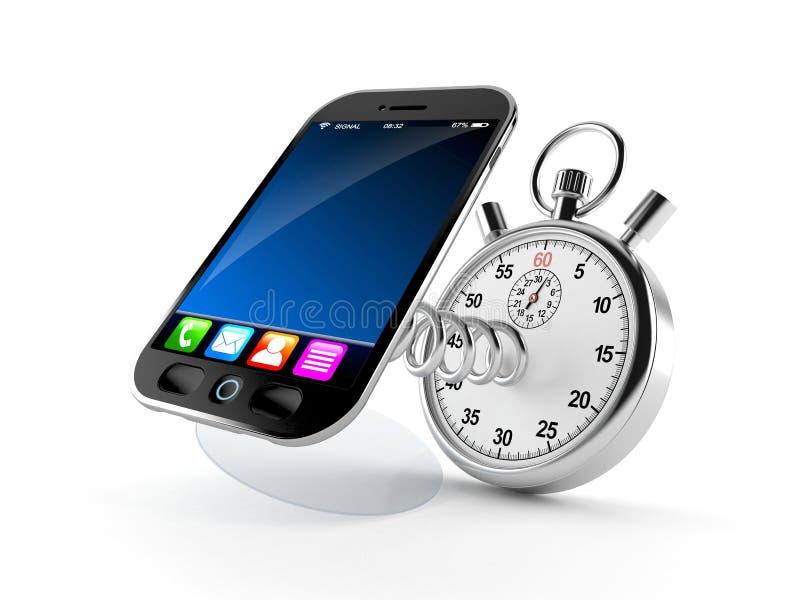 Intelligentes Telefon mit Stoppuhr lizenzfreie abbildung